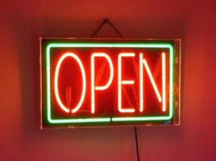Neon Wewnętrzny- Znak Open zielono-czerwony